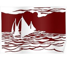 Paper art - Sailing Boats at Sunset on dark red background Poster