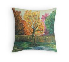 Oil Painting - Backyard Landscape. 2012 Throw Pillow
