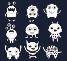 Black and white silly monsters One Piece - Short Sleeve