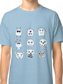 Black and white silly monsters Classic T-Shirt