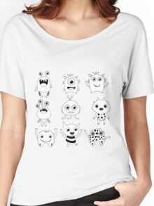 Black and white silly monsters Women's Relaxed Fit T-Shirt