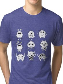 Black and white silly monsters Tri-blend T-Shirt