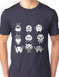 Black and white silly monsters Unisex T-Shirt