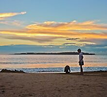 A Boy and his Dog at the Beach by DFLCreative
