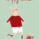 RED & WHITE STRIP FOOTBALL/SOCCER EASTER CARD by Jane Newland