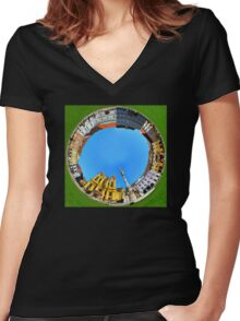 timisoara union square round panorama Women's Fitted V-Neck T-Shirt