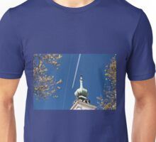 Aeroplane contrails and cross Unisex T-Shirt