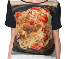 Pasta spaghetti with vegetable sauce Chiffon Top