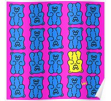 Gummy Bears Blue and Yellow Poster