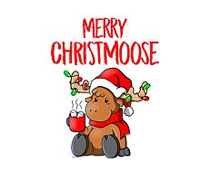Merry Christmoose! - Funny Christmas Pun Photographic Print
