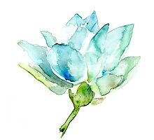 Lotus Watercolor Zen Painting by Zendrawing