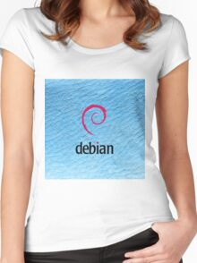 Debian blue color leather texture Women's Fitted Scoop T-Shirt