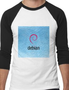 Debian blue color leather texture Men's Baseball ¾ T-Shirt