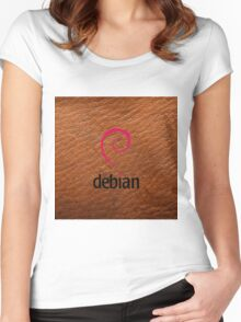 Debian brown color leather texture Women's Fitted Scoop T-Shirt