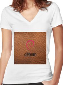 Debian brown color leather texture Women's Fitted V-Neck T-Shirt