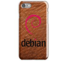 Debian brown color leather texture iPhone Case/Skin