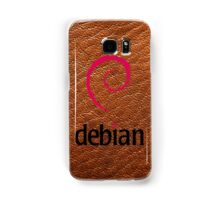 Debian brown color leather texture Samsung Galaxy Case/Skin