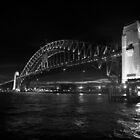 Sydney Harbour Bridge Night Mono by DavidMay