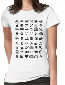 Travel Icons Language Womens Fitted T-Shirt