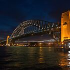 Sydney Harbour Bridge shot Night Kiribilli. by DavidMay