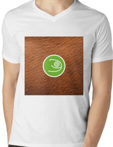 Opensuse with leather texture Mens V-Neck T-Shirt