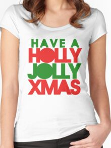 Holly Jolly xmas Women's Fitted Scoop T-Shirt