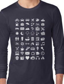 Travel Icons Language (White) Long Sleeve T-Shirt
