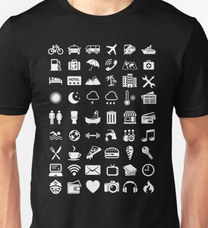 Travel Icons Language (White) Unisex T-Shirt
