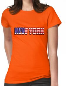 New York United States of America Flag Womens Fitted T-Shirt