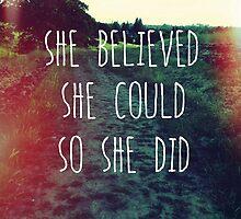 She Believed by Jan Weiss