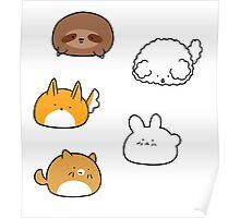 Cute Animal Blobs! Poster