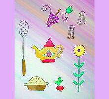 Teapot and pie by JoAnnFineArt