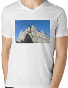Silver City Architecture - Aberdeen Granite Facade with a Whimsical Tower Mens V-Neck T-Shirt