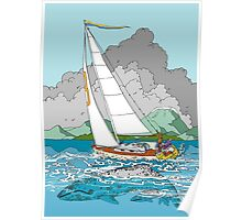 Sailing past Whales Poster