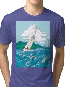 Sailing with the dolphins Tri-blend T-Shirt