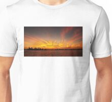 Gold Fingers - Ocean Sunrise with Water Reflections. Unisex T-Shirt