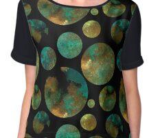 Dark pattern with green circles  Chiffon Top