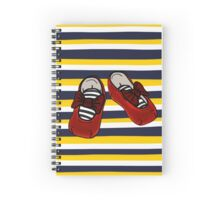 Ruby Booties on horizontal Navy and yellow stripes Spiral Notebook