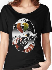 I Love Autumn - Red Panda Design Women's Relaxed Fit T-Shirt