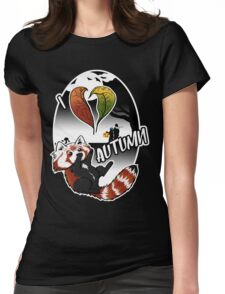 I Love Autumn - Red Panda Design Womens Fitted T-Shirt