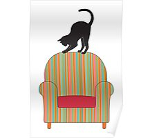 Cat on a striped armchair Poster