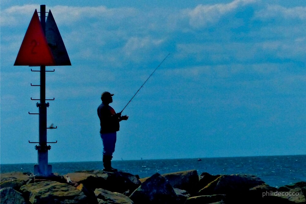 Fishing From The Jetty by phil decocco