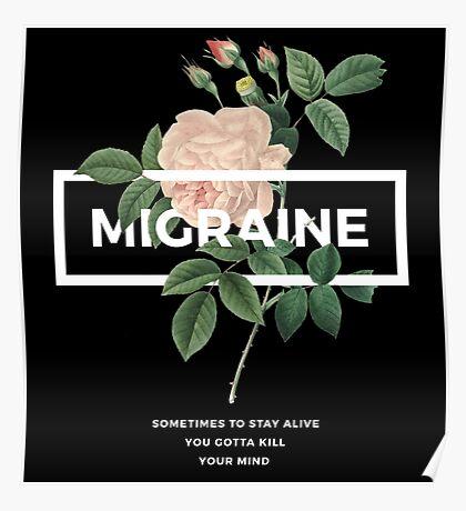 Migraine Floral Typography Poster