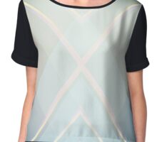 Art Deco Abstract Geometric Overlapping Triangles Blue Gray Chiffon Top