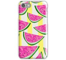 Watermelon Crush on Yellow and White Stripes iPhone Case/Skin