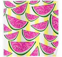 Watermelon Crush on Yellow and White Stripes Poster