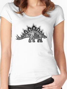 Stegosaurus Lace - Black / Grey Women's Fitted Scoop T-Shirt