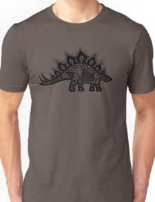 Stegosaurus Lace - Black / Grey Unisex T-Shirt