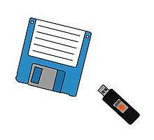 Floppy Disk and Thumb Drive Photographic Print