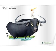 Asiatic Water Buffalo Caricature Poster